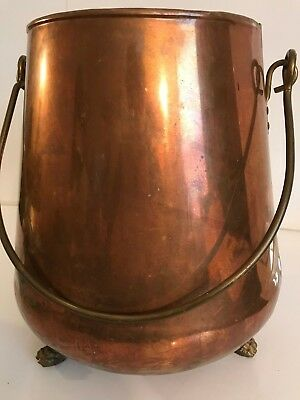 Antique Vintage Large Copper pot/kettle,w/brass handle & claw feet,made Holland