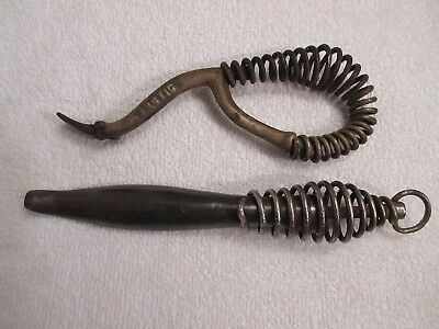 vintage antique wood stove lid handles one is marked Artic lot M