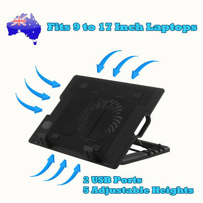 Notebook Laptop Cooling Pad Cooler Fan Stand w/ USB Hub Adjustable Height 9-17""