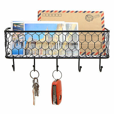 Black Metal Wall Mounted Key and Mail Sorter Storage Rack w/ Chicken Wire Mesh
