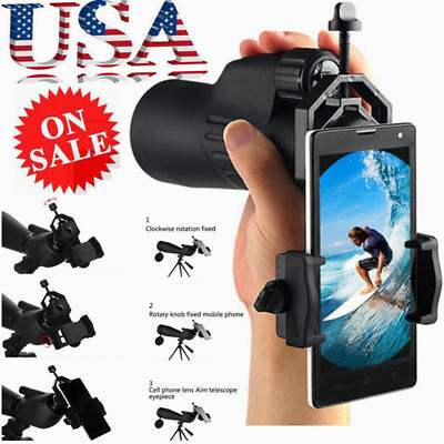 Telescope Spotting Scope Microscope Mount Holder Mobile Phone Camera Adapter New