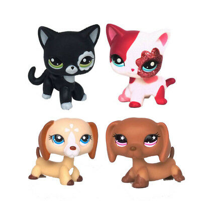 4 PCS LPS Toys Littlest Pet Shop Rare Dachshund Dog Puppy Short Hair Cat Gifts