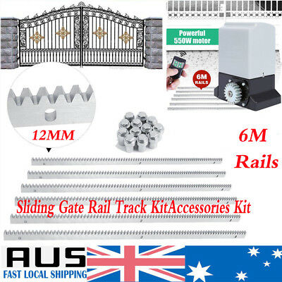 6M Sliding Gate Rail Track Accessories Kit Stopper Wheels Roller Guide Opener