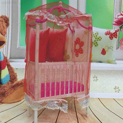 50D4 Sweet Baby Crib For Barbie Furniture Kelly Doll's Baby Bed Doll Accessories