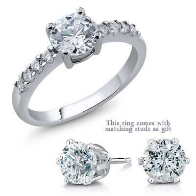 4.50 Ct 7mm Round Zirconia Ring with Matching Studs as Gifts
