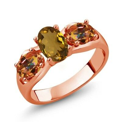 1.70 Ct Whiskey Quartz Ecstasy Mystic Topaz 18K Rose Gold Plated Silver Ring