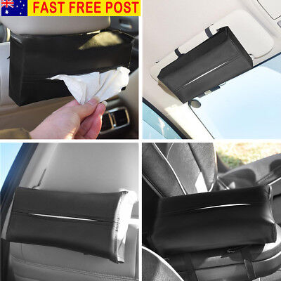 AU Artificial Leather Car Sun Visor Napkin Paper Tissue Box Holder Accessories