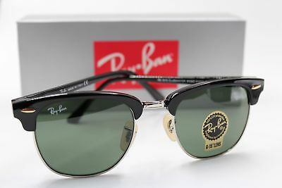 8cf787e8b2c07 NEW Ray-Ban Clubmaster Sunglasses RB3016 W0365 G-15 Lens 51mm Black Silver  Frame