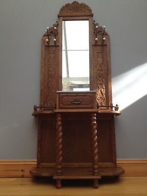 Antique Hall Stand Victorian Style Coat Hat Carved Mirror back Old Vintage