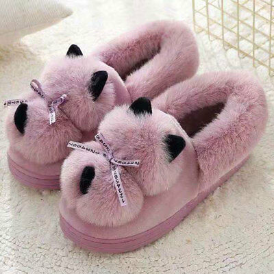Woman Winter Warm Cat Cotton Slippers Anti Slip Animals Plush Toys Cute Shoes