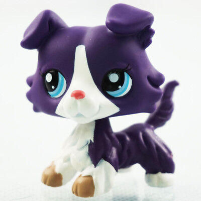 Littlest Pet Shop LPS Toys #1676 Purple Collie Dog Puppy Blue Eyes Figure Gifts