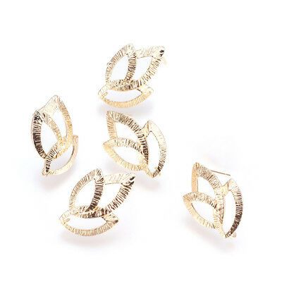 10pcs Gold Plated Brass Hollow Leaf Earring Posts Stud Findings Nickel Free 22mm