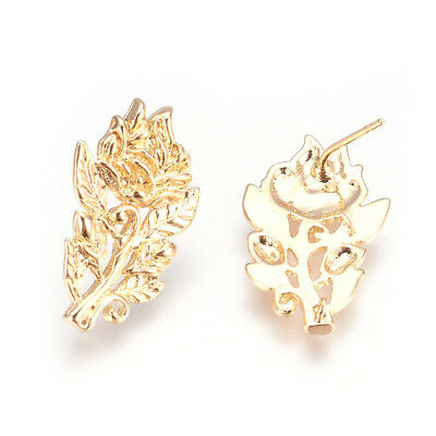 10 Brass Filigree Rose Earring Posts Gold Plated Back Loop Stud Nickel Free 24mm