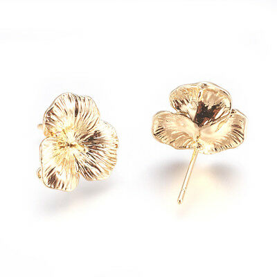 10x Gold Plated Brass Flower Earring Posts Bumpy Back Loop Stud Nickel Free 16mm