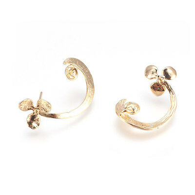10pcs Brass Curved Flower Earring Posts Bumpy Back Loop Studs Gold Tone 23~25mm