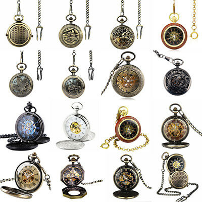 Mens Watch Steampunk Skeleton Retro Antique Open Face Mechanical Pocket Watch