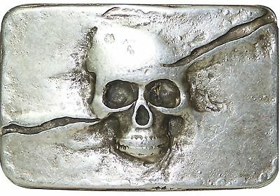 """FRONHOFER Antique silver plaque buckle with skull, 1.5""""/4cm scull buckle"""