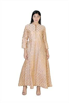 New Indian Kurti Kurta Top Chanderi Silk Festive Wear Women Dress Party Long