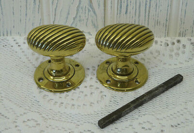 Georgian brass door handles, pair antique ribbed oval solid brass door knobs