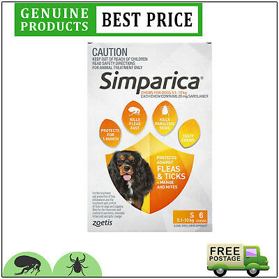 SIMPARICA 6 Doses Orange Pack for Dog 5.1 to 10 Kg Flea and Tick treatment