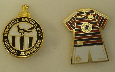 NEWCASTLE UNITED FOOTBALL Enamel Pin Badges x 2 SUPPORTERS CLUB & Kit