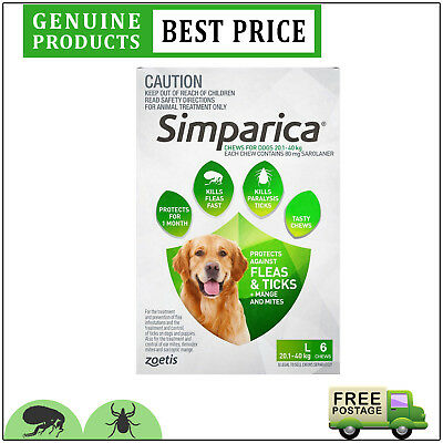 SIMPARICA 6 Doses Green Pack for Dog 20.1 to 40 Kg Flea and Tick treatment