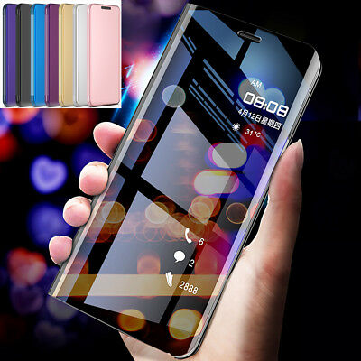360° Mirror Flip Wallet Case Clear View Cover for Samsung Galaxy A7 2018/J4 J6+