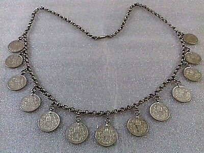 Antique Albanian  Folk Ornament Women  Decorated With Silver Coins