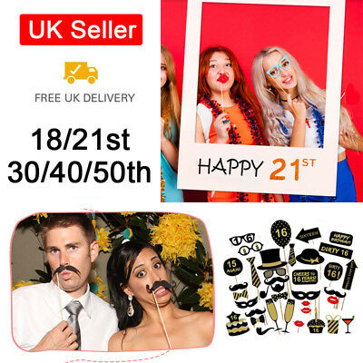 18/30/40/50th 21st Birthday Party Photo Booth Frame Mustache Props Party Decor