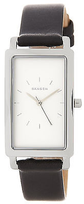 Skagen SKW2504 Hagen Ultra Slim White Dial Black Leather Strap Women's Watch