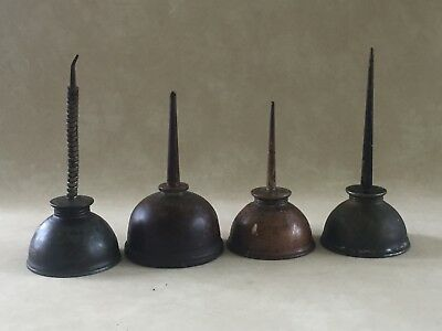 Lot of 4 Vintage Thumb Pump Oil Cans Oilers Eagle + more. straight + flex nozzle