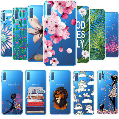 For Samsung Galaxy A7 2018 A750 Ultra Slim Patterned Clear Soft TPU Case Cover