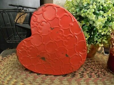 Heart Shaped Red Painted Tin Box Primitive Vintage Country Farmhouse New