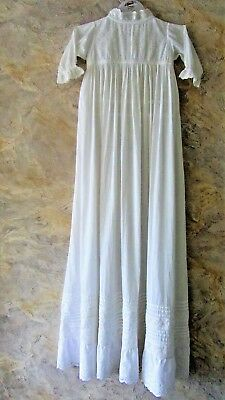 Vintage Hand made Broderie Anglaise Cotton Muslin Christening Gown