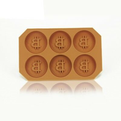 Silicone Chocolate Candy Pudding Mould 6 Cavity Bitcoin Coin Ice Maker Freezer M