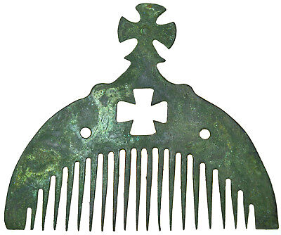 Byzantine Bronze Comb with Cross