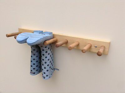 Wooden Wall Mounted Welly Rack Wellington Boot Rack Stand 2 - 6 Pair