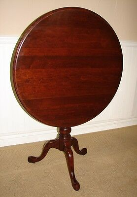 Ethan Allen Georgian Court Cherry Tilt Top Table, Round Pedestal Table