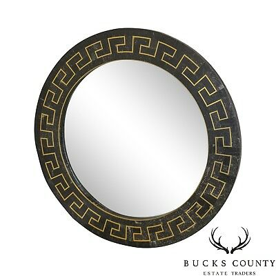 Maitland Smith Tessellated Stone Greek Key Brass Inlay Round Mirror