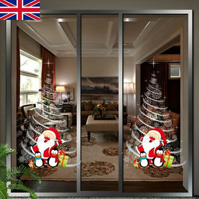 Christmas Applique Wall Stickers Mall Shop Window Glass Door Tree Xmas Decors BE
