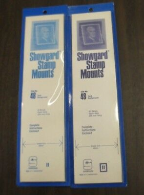 Showgard 48 by 215 mm black stamp mounts in 2 closed packs of 23 strips total
