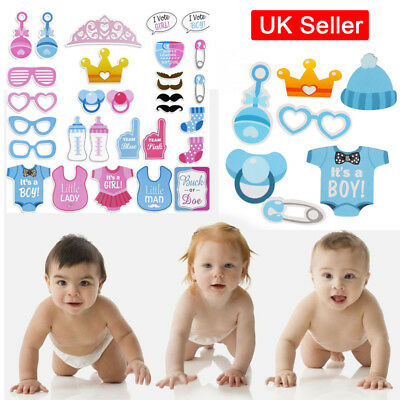 Pink / Blue Baby Shower Photo Booth Props Little Boy Mister New Born Party Decor