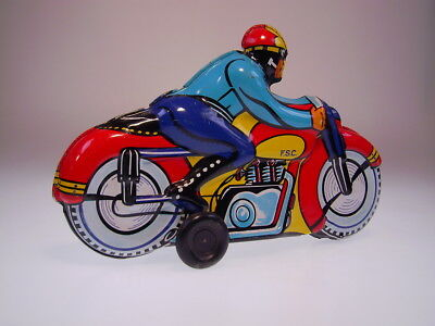 "GSMOTO MOTORCYCLE ""CIVIL RIDER"" F.S.C. ITALY,23cm, WIND UP, LIKE NEW/NEU/NEUF !"