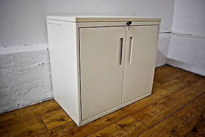 White Double Door Desk Height Office Storage Cabinet Lockable - Metal 2 in Stock