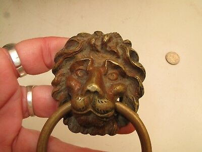 """Antique Brass Lions Head W Ring Drawer Pull Handle Vtg  2 1/8"""" D Large Detailed"""