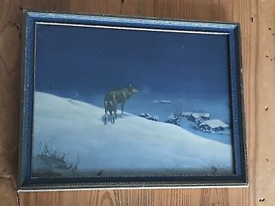 Vintage THE LONE WOLF Kowalski Framed Print Original Art Deco Frame w/Glass