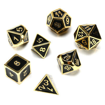 7Pcs Dice Polyhedral Dices Set Zinc Alloy Metal Polyhedral Role Multi-sided D4-D