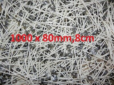 1000 x 80mm-8cm Long Pre Waxed Wicks For Candle Making with sustainer`s