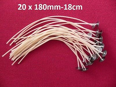 20 x 180mm Long Pre Waxed Wicks For Candle Making with sustainer`s