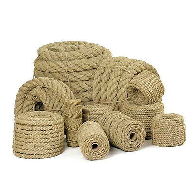 50m of 18mm Natural Jute Hessian Rope Braided Twisted Boat Sash Garden Decking